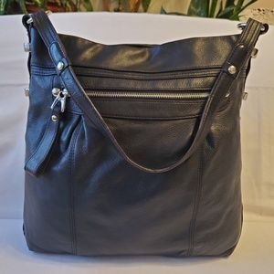 B. Makowsky Black Leather/Silver Hardware Tote